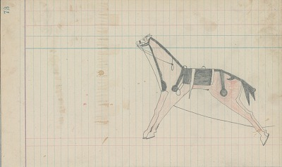 Anonymous Cheyenne drawing of horse with saddle and body paint, ca. 1889