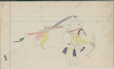 Yellow Nose drawing of woman warrior dressed only in breechcloth and male warrior striking an enemy, ca. 1889