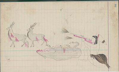 Anonymous Cheyenne drawing of hunter dressed in capote shooting deer, ca. 1889
