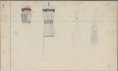Anonymous Cheyenne unfinished drawing of two upright feather bonnets, one with ermine tassels hanging down, ca. 1889