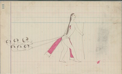 Yellow Nose drawing of man dragging buffalo skulls by thongs pierced through his back, probably for a sacrifice undertaken in association with the Sun Dance, ca. 1889