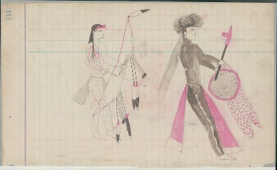 Yellow Nose drawing of ceremonial figures with full body paint and carrying decorated bow, shield, and pipe, ca. 1889