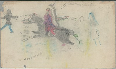 Anonymous Cheyenne drawing of mounted warrior charging U.S. soldier, ca. 1889