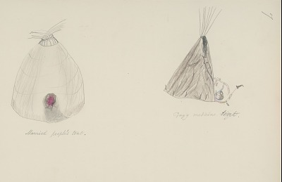 Daniel Little Chief drawing of Cheyenne crazy medicine tent, married people's tent, and medicine arrow, with descriptive text by Albert Gatschet, 1891 February