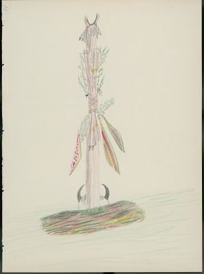 Daniel Little Chief drawing of Cheyenne war-arrow exhibit, with descriptive text by Albert Gatschet, 1891 February