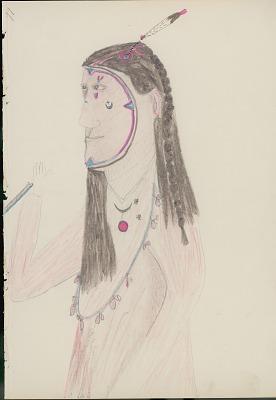Daniel Little Chief drawing of Yellow Nose, Cheyenne medicine man, with descriptive text by Albert Gatschet, 1891 February