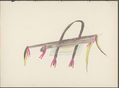 Daniel Little Chief drawing of Cheyenne otterskin quiver, with descriptive text by Albert Gatschet, 1891 February
