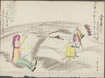 Anonymous Cheyenne drawing of a Blackfeet Indian killed by a Cheyenne, ca. 1891?