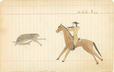 Tichkematse drawing of White Dog, an Indian scout, on horseback shooting a deer, 1887 April