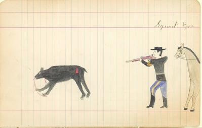 Tichkematse drawing of himself shooting a bear, 1887 April