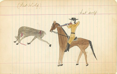 Tichkematse drawing of Fat Wolf, an Indian scout, shooting a deer, 1887 April