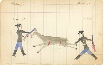 Tichkematse drawing of two Indian scouts hunting deer, 1887 April