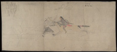 Cheyenne drawing of second 1864 battle with Pawnee Indians at Elk River, ca. 1904