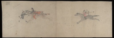 Cheyenne drawing of man on horseback attacking Pawnee warrior, with enemy previously struck with bow shown behind him, at Elk River, ca. 1904