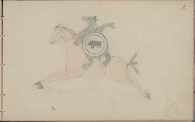 Carl Sweezy drawing of mounted warrior with shield and bear skin, 1904