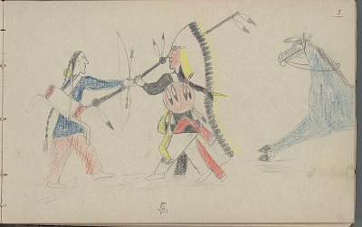 Carl Sweezy drawing of warrior with shield in combat, 1904