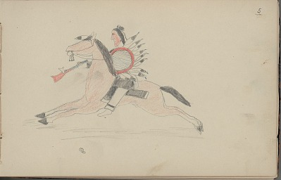 Carl Sweezy drawing of mounted warrior with shield, 1904