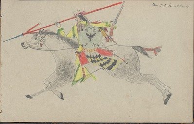 Charles Murphy drawing of warrior with shield, 1904