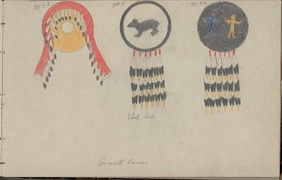 Charles Murphy drawing of three shield designs, 1904