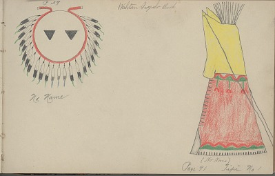 Charles Murphy drawing of a shield and a tipi, 1904