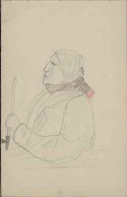 Anonymous drawing, possibly Cheyenne, of a profile of an Indian man in lapeled coat holding a pipe, 1904