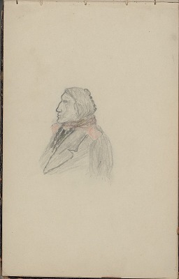 Anonymous drawing, possibly Cheyenne, of a profile of an Indian man in lapeled coat, 1904