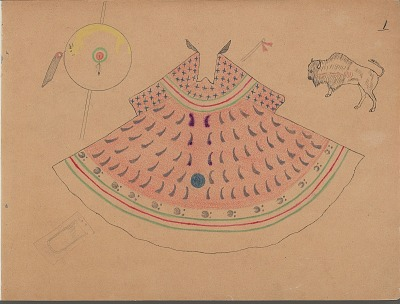 Charles Murphy drawing of tipi design with associated shield, ca. 1904-1906