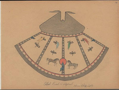 Charles Murphy drawing of Glad Road tipi design, ca. 1904-1906