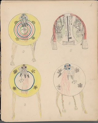 Silver Horn drawing of Kiowa shield designs, ca. 1904-1906