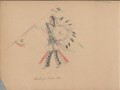 Carl Sweezy drawing of warrior with shield and lance, 1904