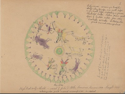 Carl Sweezy drawing of shield of High Back Wolf, 1904