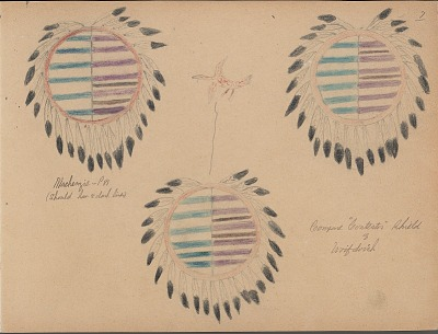 Carl Sweezy drawing of three similar shields, one with name glyph, 1904