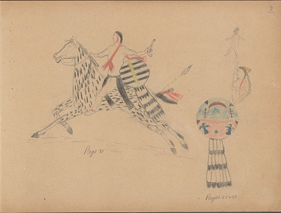 Carl Sweezy drawing of warrior with shield and another shield with sketch of man and name glyph, 1904