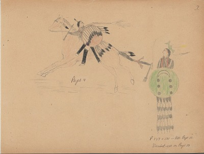 Carl Sweezy drawing of two warriors with shields, 1904