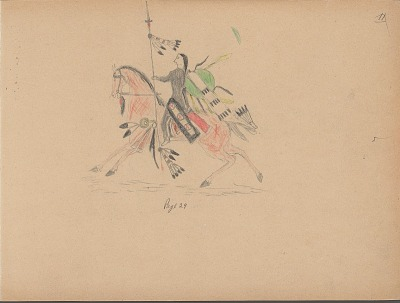 Carl Sweezy drawing of warrior with shield, identified by name glyph, 1904