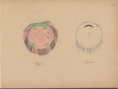 Carl Sweezy drawing of two shields, 1904