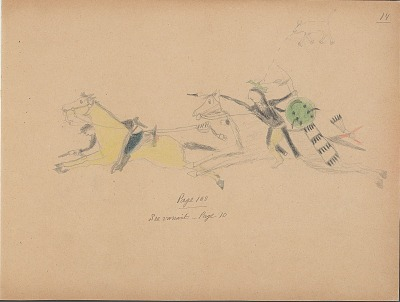 Carl Sweezy drawing of warrior with shield, identified by name glyph, counting coup on U.S. soldier, 1904