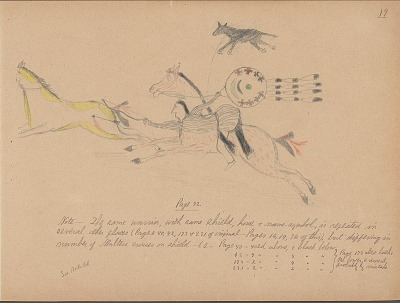 Carl Sweezy drawing of warrior with shield, identified by name glyph, with notes by James Mooney regarding other pages of original book where same warrior is pictured, 1904