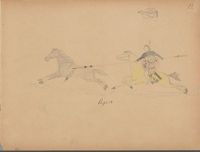 Carl Sweezy drawing of warrior with shield, identified by name glyph, claiming a horse, 1904