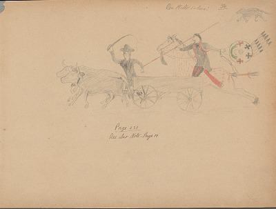 Carl Sweezy drawing of warrior with shield, identified by name glyph, striking teamster driving oxen, 1904