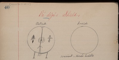Anonymous Kiowa drawing of the outside and inside covers of the Pa-doga-i Shield, n.d