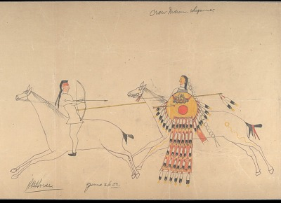 Hubble Big Horse drawing of battle scene between Cheyenne warrior with shield and Crow, 1903 June 26
