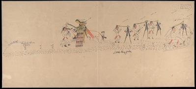 Hubble Big Horse drawing of battle scene, with Cheyenne warrior Little Big Jake, carrying shield, striking 14 Pawnee enemies, 1903 June 18-19
