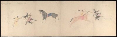Anonymous Cheyenne drawing of two battle scenes of Iron Shirt and Shoshoni warriors, ca. 1903?