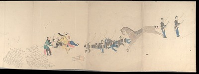 Anonymous Cheyenne drawing of Iron Shirt in battle with Custer's troops, ca. 1903?