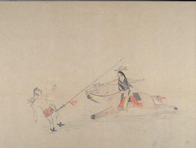 Anonymous Cheyenne drawing of Cheyenne warrior lancing enemy, ca. 1903?