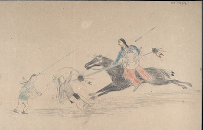 Anonymous Cheyenne drawing of Cheyenne warrior with shield striking two enemies, ca. 1903?