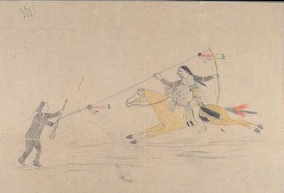 Anonymous Cheyenne drawing of Cheyenne warrior with shield striking an enemy, ca. 1903?