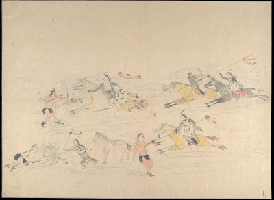 Anonymous Cheyenne drawing of four scenes of warrior with same shield striking a series of enemies, ca. 1903?