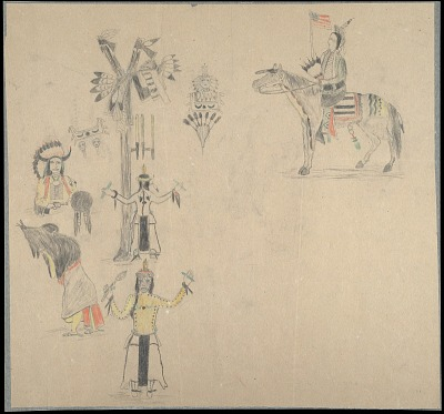 Silver Horn preliminary drawings for hide painting illustrating aspects of the Sun Dance, ca. 1903?